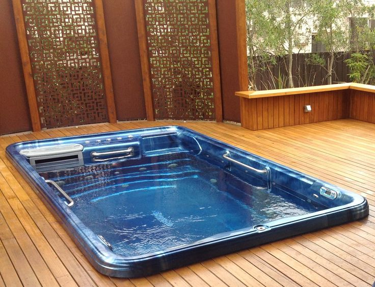 TidalFit Exercise Pool in deck. -Photo courtesy of Endless Spas, Lynbrook, VI #backyardideas
