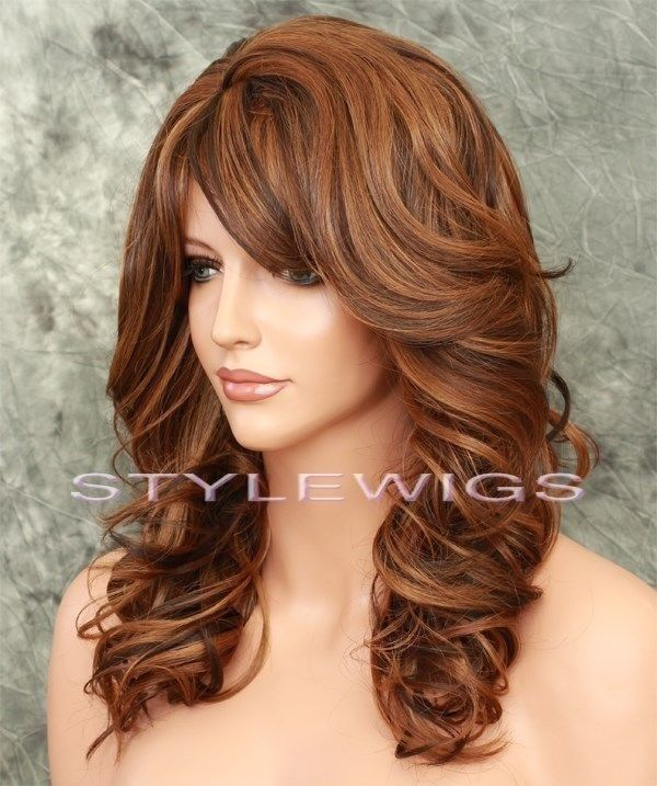 Brown Blonde Auburn Mix Heat Ok Long Lyered Curly