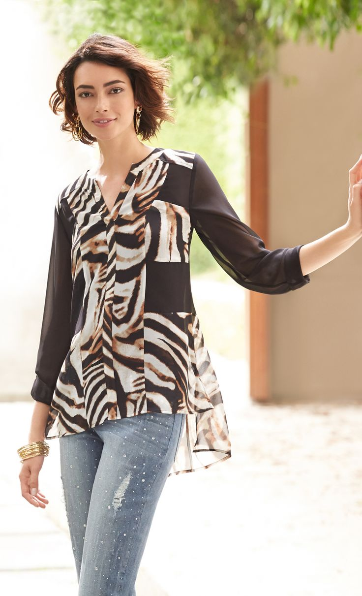 Chico's Black Label Print Blocked Top. Go hi-low in a wild ...
