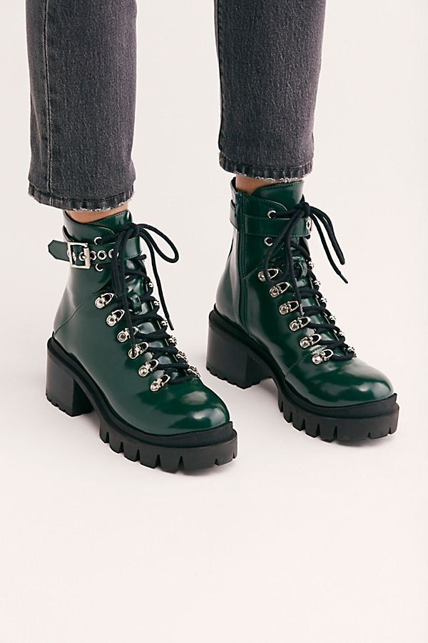 31f1b891834c7 Check Lace-Up Boot - Green Patent Leather Lace Up Combat Boots with Ankle  Buckle - Fall Shoes - Jeffrey Campbell