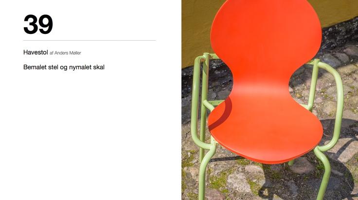 Havestol af Anders Møller - Bemalet stel og nymalet skal