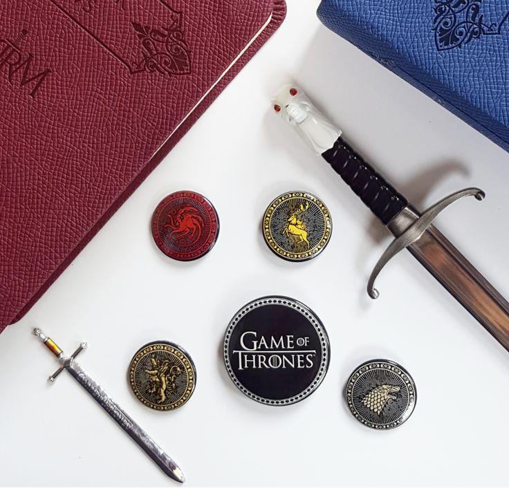 Game of Thrones pins #gameofthrones #stark #winteriscoming #jonsnow #danerystargaryen #lannister #pins #buttons #stufftobuy #badges #tyrionlannister