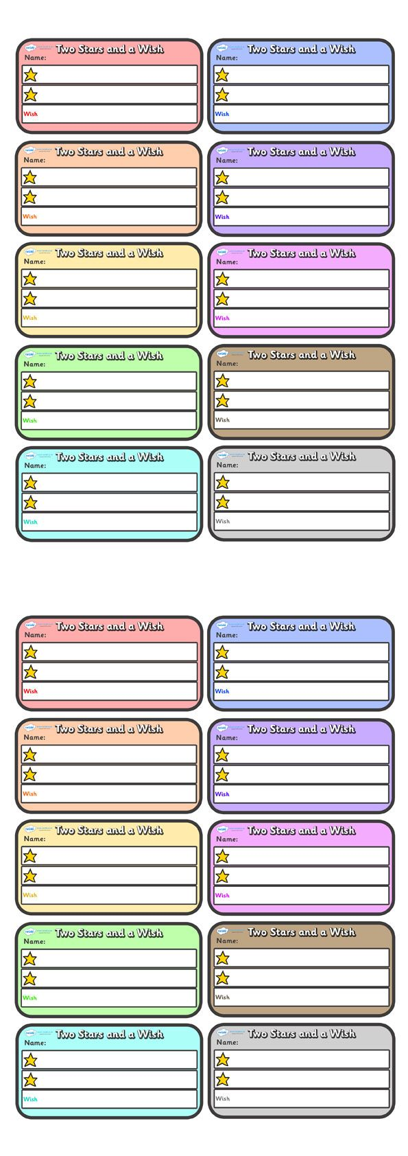Twinkl Resources >> Two Stars and A Wish Teacher Comment Cards Small >> Classroom printables for Pre-School, Kindergarten, Primary School and beyond! stars, editable, coloured
