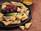 Beer-Cheese Triangles with Zesty Cheese Sauce