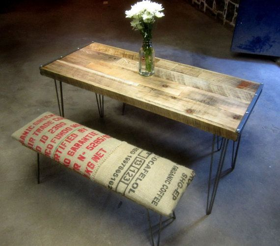 reclaimed wood and recycled coffee sack dining set... so cool!