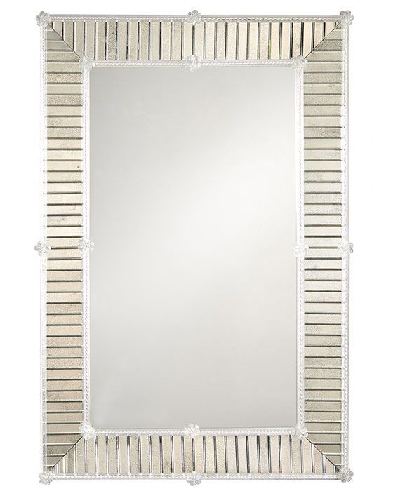Unique Rectangular Venetian mirror framed with 140 individual pieces of antiqued beveled glass bordered by twisted For Your Plan - Best of venetian glass mirror Lovely