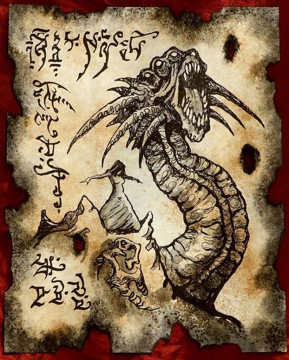 TITAN WORM Cthulhu larp Necronomicon page Scroll Magick by zarono