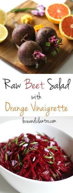This raw beet salad with an orange vinaigrette will have you licking the bright pink juice right off…