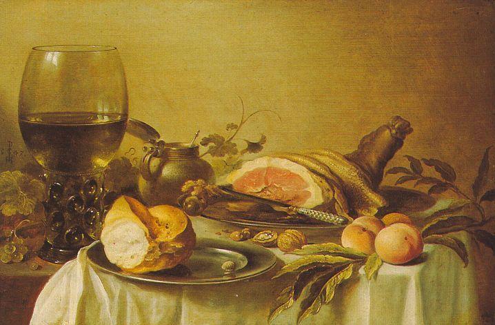 Peter Claesz. Breakfast with Ham, 1647, oil on panel, The Hermitage, St. Petersburg