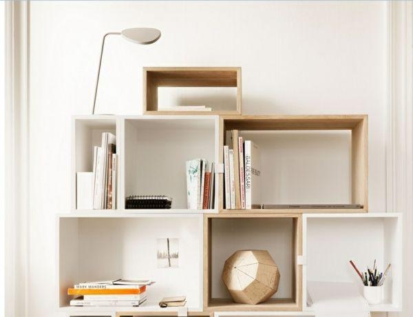 Aufbewahrung- und Regalsysteme aus Holz für private Zwecke - einrichtungsdeen fur hausbibliothek bucherwand