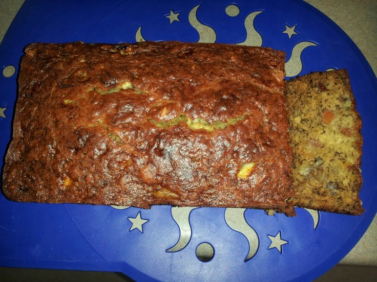 Tropical Banana Bread. 4 bananas, 1/4 c coconut, 1/4 c diced papaya, 1/4 c diced pineapple, 1/3 c melted butter, 3/4 c sugar, 1 egg, 1 tsp vanilla, 1 tsp baking soda, 1 1/2 c AP flour. Mix all ingredients except flour. Add flour, fold in till incorporated. Pour in greased loaf pan, bake at 350 for an hour. Yum!!!