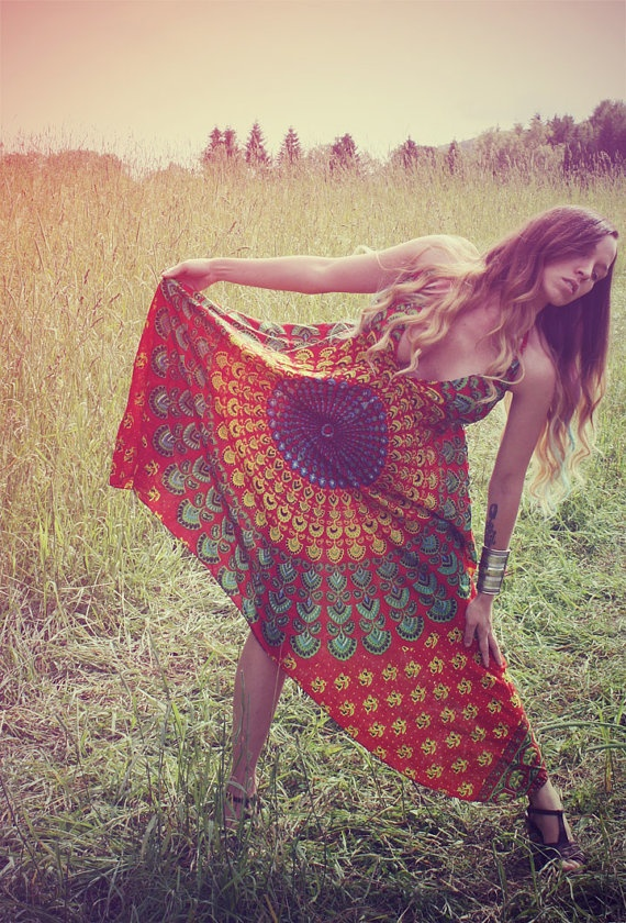 Handmade Hippie Dress, NEW LENGTH, Festival Dress, Short Summer Dress, Bohemian, Aztec, Peacock, Bridesmaid, Maternity, Festival