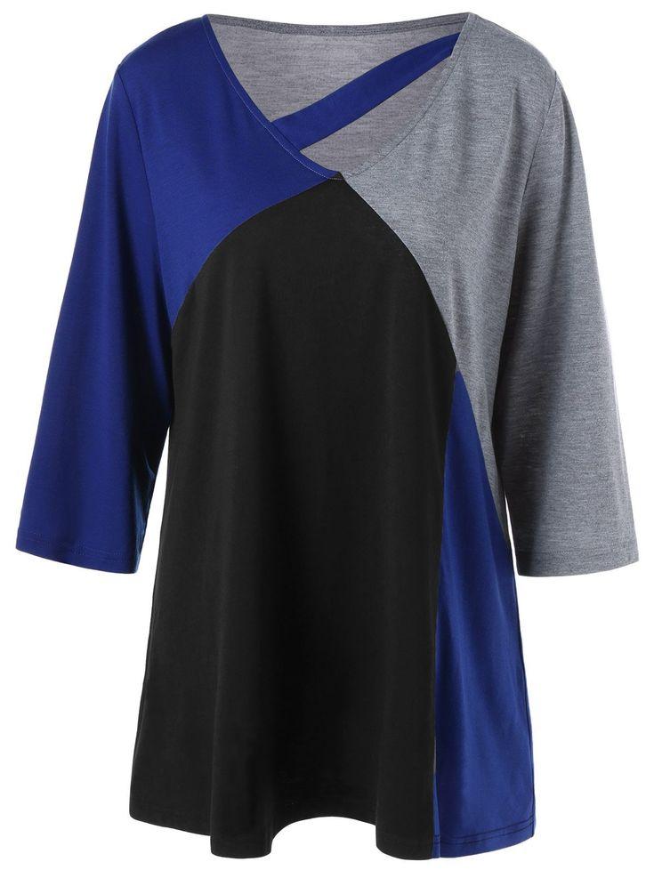 Color Block Cut Out Plus Size T-Shirt #jewelry, #women, #men, #hats, #watches, #belts