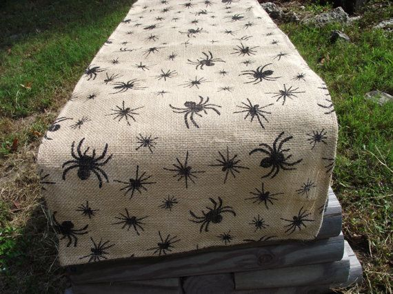 Burlap Halloween Table Runner by WhimsicalDesignsbyMe on Etsy, $32.00