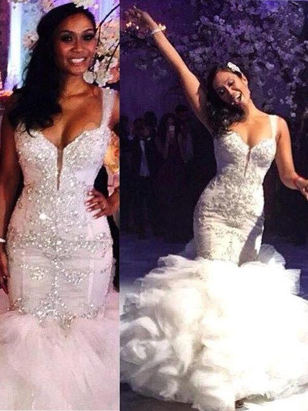 Trumpet Mermaid Sleeveless Sweep Brush Train Organza Straps Wedding Dresses Ruffle Wedding Dress Wedding Dresses Lace Wedding Dress Organza
