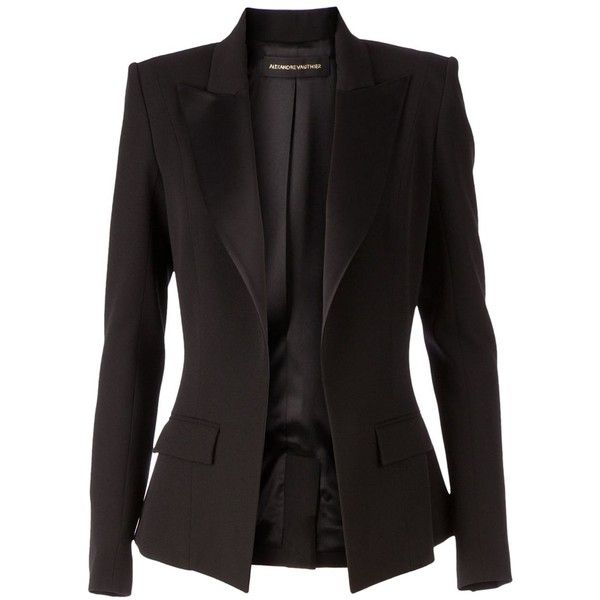 Alexandre Vauthier Fitted Blazer (181.275 RUB) ❤ liked on Polyvore featuring outerwear, jackets, blazers, black, casacos, open front jacket, long sleeve blazer, blazer jacket, fitted blazer and fitted jacket
