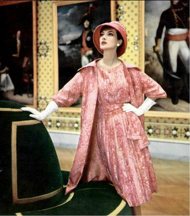 1959 Rose Marie in rose silk print pleated dress and matching coat by Christian Dior, photo by Philippe Pottier at Château de Versailles