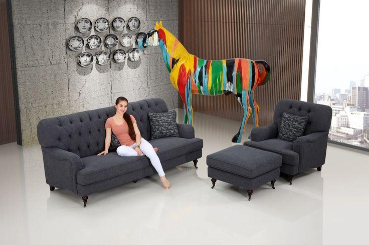 Howard Oxford 3-Sits soffa + Fåtölj + Pall Mörkgrå
