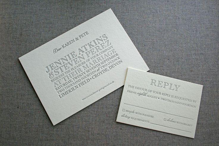 Letterpress wedding invitations, individual invitations, printed by #stoneberrypress