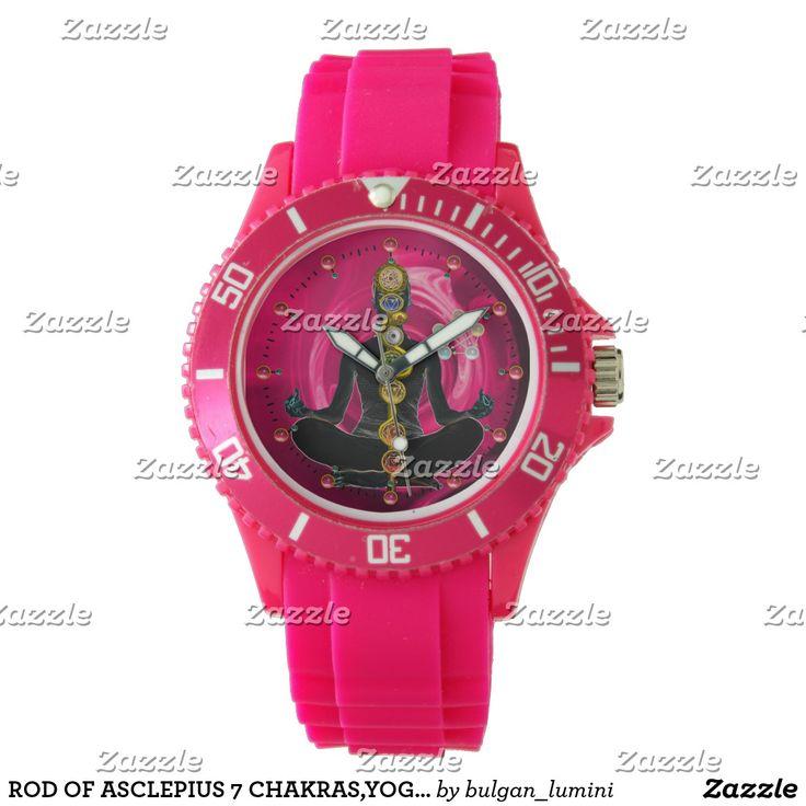 ROD OF ASCLEPIUS 7 CHAKRAS,YOGA LOTUS POSE Pink Wristwatch  #healer #meditation #health #chackra #fashion #watches