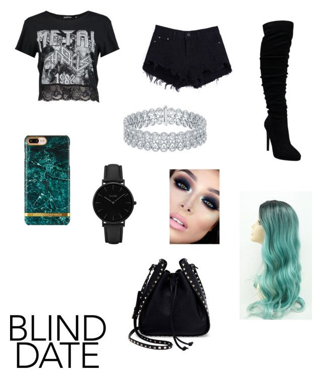 """turned out a little emo but it's ok."" by dogiii on Polyvore featuring moda, Boohoo, Valentino ve CLUSE"