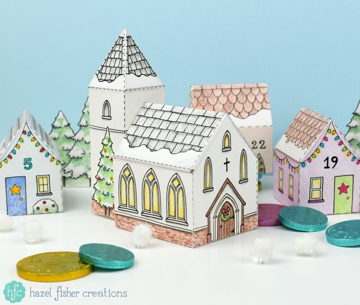 Christmas Church and Advent Calendar Village - printable boxes to colour in a make up yourself - available from hfcSupplies on Etsy. Hazel Fisher Creations Christmas Crafts