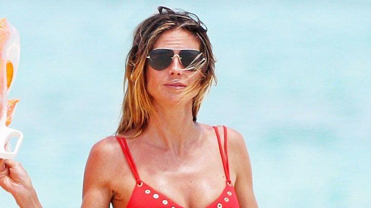 Heidi Klum Channels Her Inner 'Baywatch' Goddess in Red Bikini