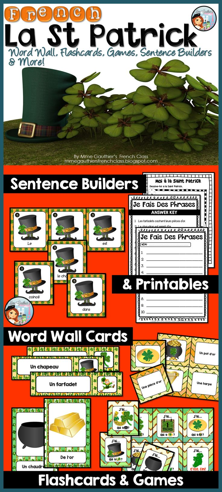 Mme Gauthier's French Class | La St Patrick: Word Wall, Flashcards, Sentence Builders, Games & More!