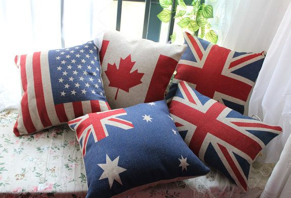 1pc National Flag Assorted Linen Pillow Case Cushion Cover Union Jack UK Flag Canadian Flag USA Red Leaf Australian Flag on Etsy, $12.00