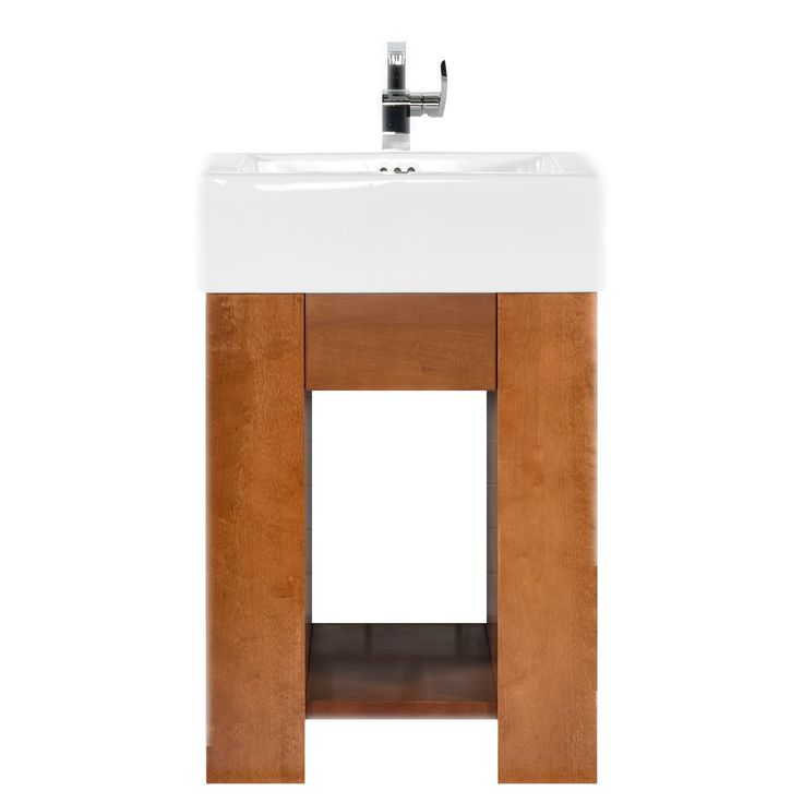 """Zenia 23"""" Vanity set is both stylish and inviting in a warm Cinnamon finish. Constructed of solid wood, and furniture grade plywood construction with real wood veneer Finished with non-toxic, eco-friendly polyurethane for maximum protection. The ProminentTM Sinktop is the perfect statement piece to accompany this vanity. The center full extension drawer with dovetail construction is a great way to store your personal items and the open shelf allows for additional storage and lightens up this…"""
