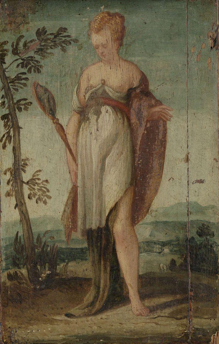 anoniem | Woman with Mirror, circle of Lambert Sustris, 1540 - 1570 | Staande vrouw met ontbloot bovenlichaam en een spiegel in de rechterhand. De personificatie van Prudentia. Onderdeel van een reeks van vier allegorische vrouwenfiguren (SK-A-3424/3427).
