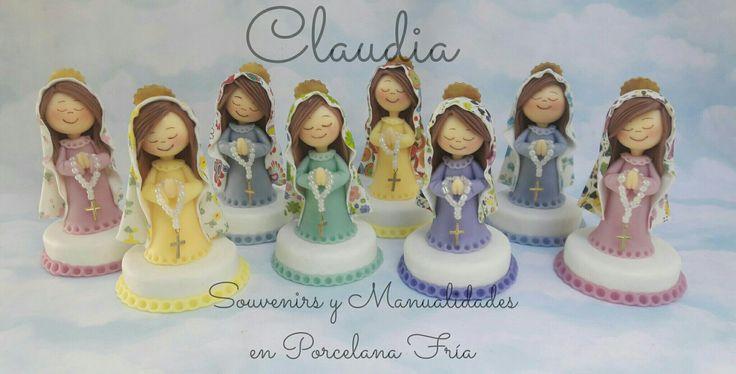 Virgencitas con manto con decoupage,  adornos de torta  para bautismo o comunión