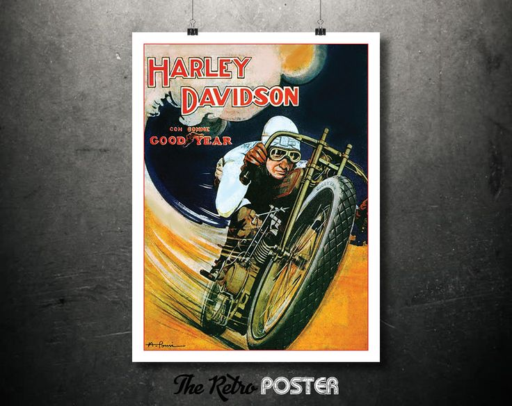 1930s Harley Davidson and Good Year Combination Advertisement - Vintage Poster or Canvas // High Quality Fine Art Reproduction Giclée Print by TheRetroPoster on Etsy