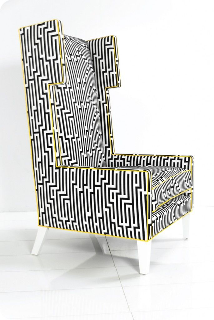Tangier Wing Chair in a Zig Zag Fabric by ModShop