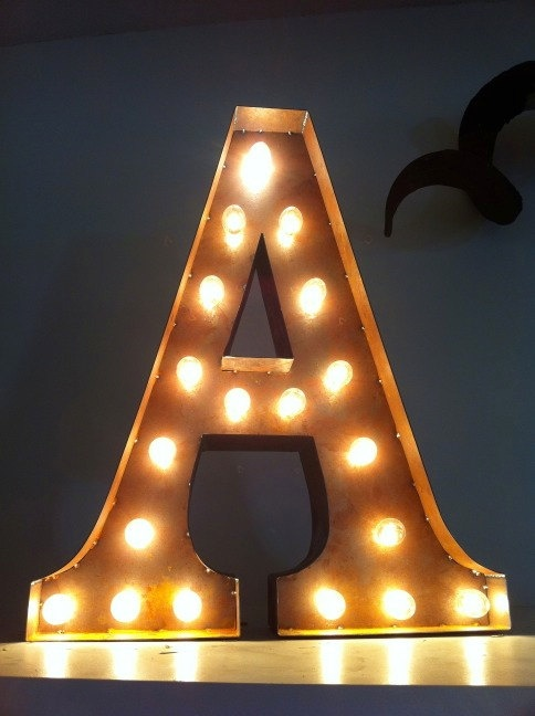 Vintage Marquee Lights - Letter A - letters above the bed! soft lighting for the room