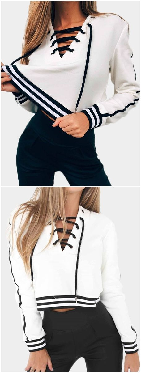 White Stripe V-neck Lace-up Front Crop sweatshirts US$19.95