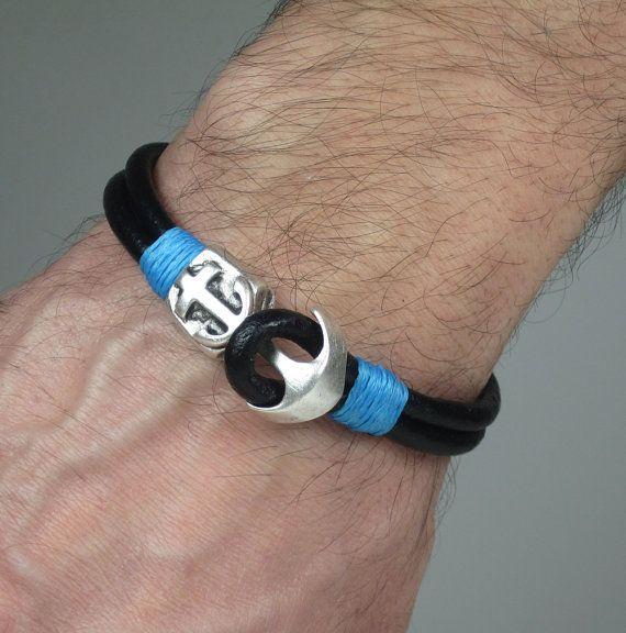 Men's Leather Bracelet / Men Bracelet /Anchor by ZEcollection, $15.00