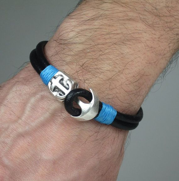 Men's Leather Bracelet / Men Bracelet /Anchor by ZEcollection, $15.00