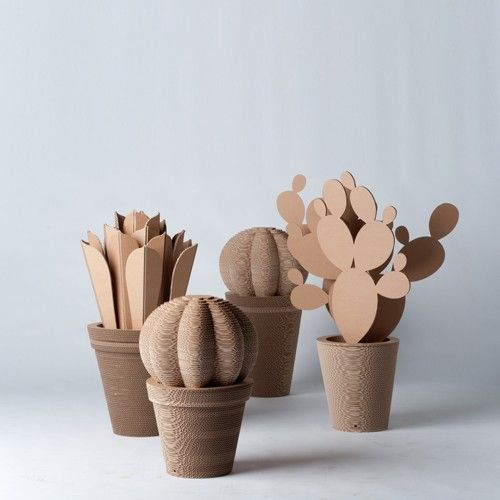 """Mother-in-Law's Cushion Cactus,"" an innovative air purifier made of corrugated cardboard."