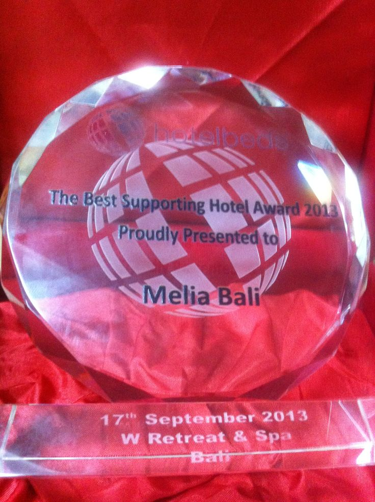 @MELIÃ BALI received The Best Supporting Hotel Award 2013 from Hotelbeds, as the top producer in the area of Nusa Dua and Tanjung Benoa (Bali, Indonesia).