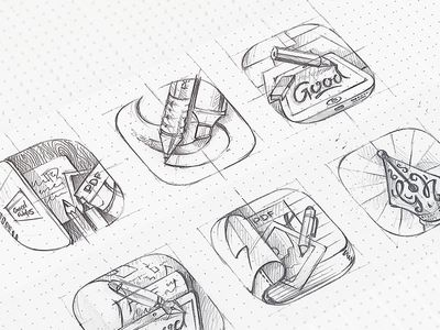 GoodNotes icon in process .. This guy is incredible. love his sketch-to-completion process Eddie Lobanovskiy