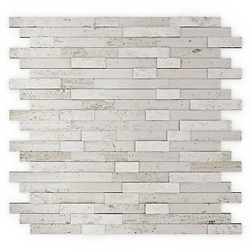 Self-Adhesive stone tiles. Mixed white color. Simple and fast installation. Easy maintenance. Without grout. Can be installed on any wall, except in the shower or on gas stoves backsplashes. Adds a luxury touch to the room.