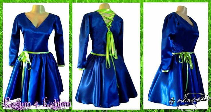 Knee length royal blue & lime green detailed smart casual dress with 3/4 sleeves, a V neckline, lace up back design. #mariselaveludo #passion4fashion #smartcasualwear #royalbluedress #shortroyalbluedress