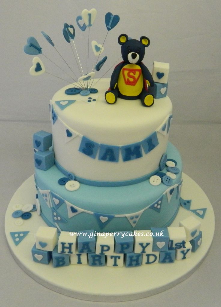 1 year old birthday cake, teddy, bunting and buttons