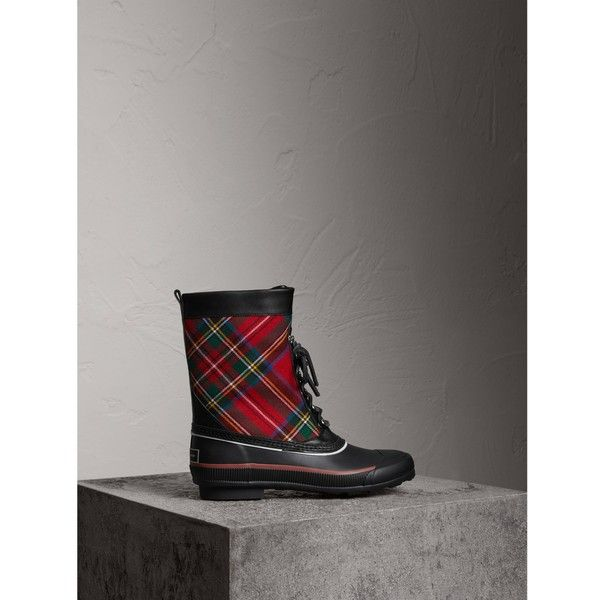 Burberry Lace-up Tartan Wool and Rubber Rain Boots ($445) ❤ liked on Polyvore featuring shoes, boots, plaid boots, plaid rain boots, laced up shoes, laced up boots and wellies rubber boots