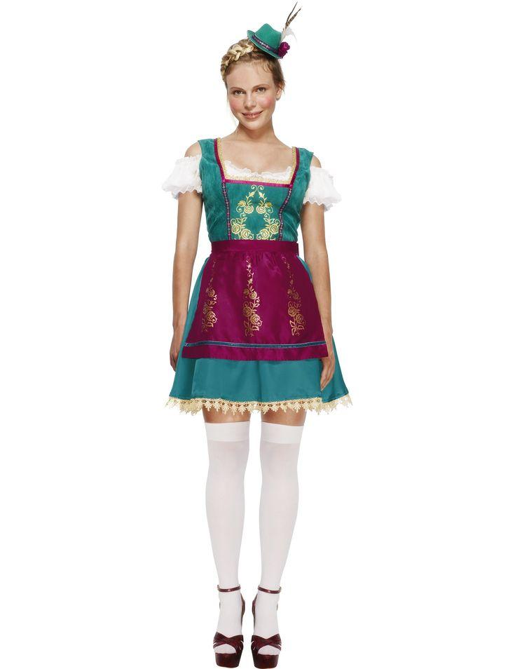 Questo costume da cameriera tirolese per donna è veramente sublime ed elegante! I dettagli color oro creano un bellissimo contrasto con il viola del grembiule e il turchese del vestito...per un Oktoberfest di classe!
