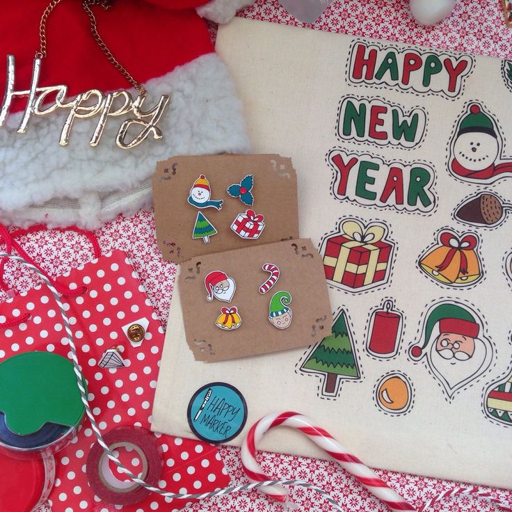 Happy Marker - New Year Collection, Collar Pins & Tote Bags