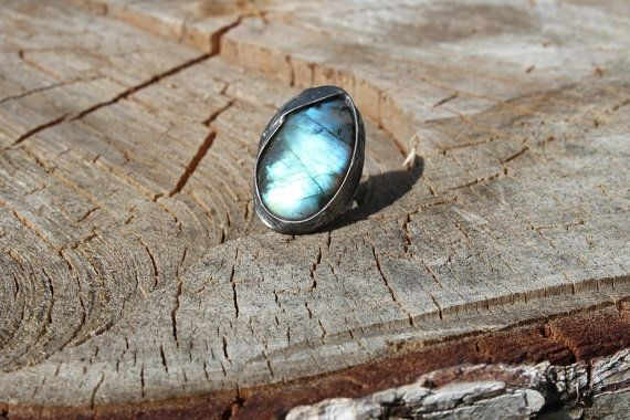 Labradorite stone ring Big large, blue green yellow shiny, statement ring, Engagement ring, coctail ring, adjustable ring