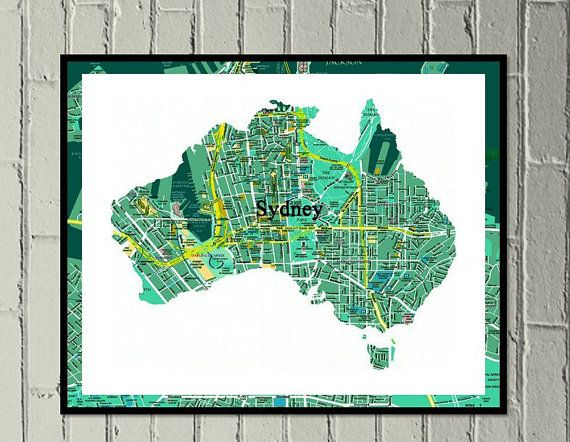 Sydney map print digital download Aussie green and gold by MadebyGia $4.50