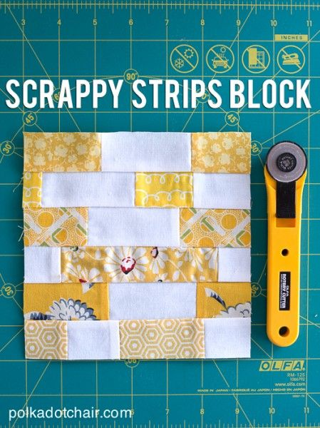 Scrappy Strips Quilt Block Tutorial on Polka Dot Chair